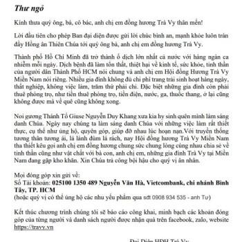 Đồng Hương Trà Vy Thư Ngỏ kêu gọi giúp đỡ 2021